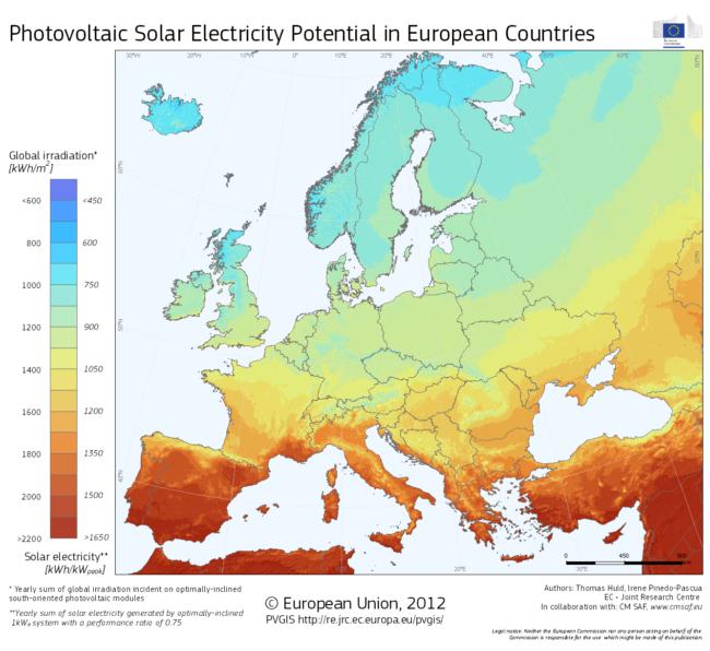 Kartta, jossa kuvataan auringon vuotuista säteilymäärää Euroopassa